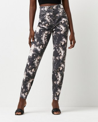 River Island Black high waisted tapered tie dye jeans - flipped