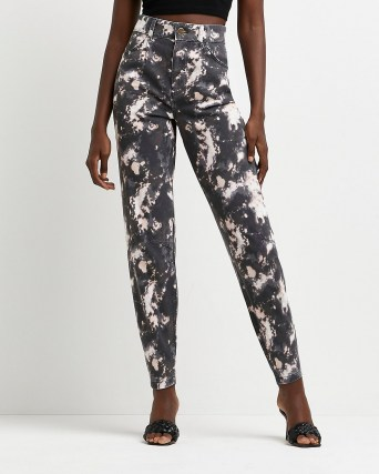 River Island Black high waisted tapered tie dye jeans