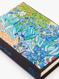 OLYMPIA LE-TAN Irises embroidered book clutch bag / floral canvas evening event bags / occasion accessories