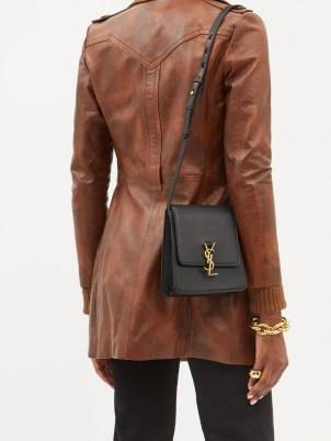 SAINT LAURENT Kaia YSL-plaque black leather cross-body bag | chic designer crossbody bags