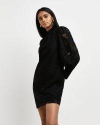 RIVER ISLAND Black lace mini dress ~ feminine LBD ~ semi sheer sleeved evening dresses
