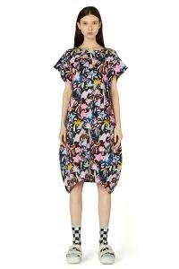 Kaitlin Johnson x Gorman BLACK LICORICE JERSEY DRESS – relaxed fit asymmetric tulip hem dresses – womens printed organic cotton fashion