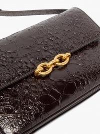 SAINT LAURENT Maillon crocodile-effect black leather shoulder bag | luxe croc embossed bags | chic designer handbags