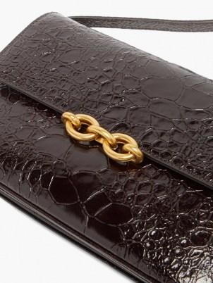 SAINT LAURENT Maillon crocodile-effect black leather shoulder bag | luxe croc embossed bags | chic designer handbags - flipped