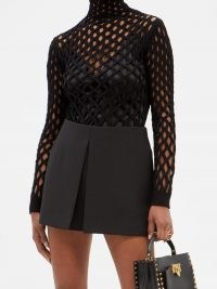 VALENTINO Black mesh high-neck sweater – designer cut out sweaters – on trend knitwear