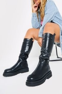 IN THE STYLE BLACK MID CALF CHELSEA BOOTS – thick chunky sole faux leather boots