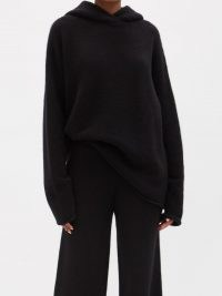 RAEY Oversized knitted cashmere hooded sweatshirt   womens soft knit pullover hoodies   women's GOTS Scope-certified organic knitwear