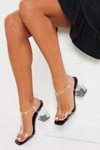 IN THE STYLE BLACK PERSPEX BLOCK HIGH HEEL – clear chunky T-bar heels
