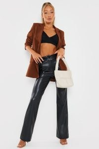 IN THE STYLE BLACK PU STRAIGHT LEG TROUSERS – faux leather pants