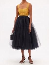 ERDEM Rachel flared black tulle skirt | sheer overlay skirts