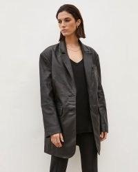 RIVER ISLAND Black RI Studio Leather Oversized Blazer ~ womens longline blazers