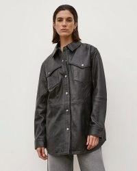 RIVER ISLAND Black RI Studio Leather Shacket ~ womens luxe oversized fit shackets ~ women's shirt jackets