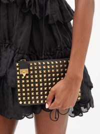 VALENTINO GARAVANI Rockstud flip-clasp black leather pouch | small stud embellished pouches | studded clutch bags