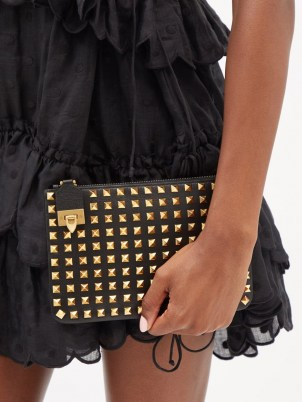 VALENTINO GARAVANI Rockstud flip-clasp black leather pouch   small stud embellished pouches   studded clutch bags