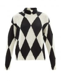 VALENTINO Roll-neck diamond wool and cashmere sweater – womens chic patterned high neck sweaters – women's monochrome designer jumpers