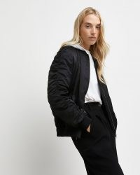 River Island Black ruched hooded bomber jacket | womens casual gathered sleeve jackets