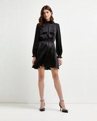 RIVER ISLAND Black satin mini dress ~ LBD