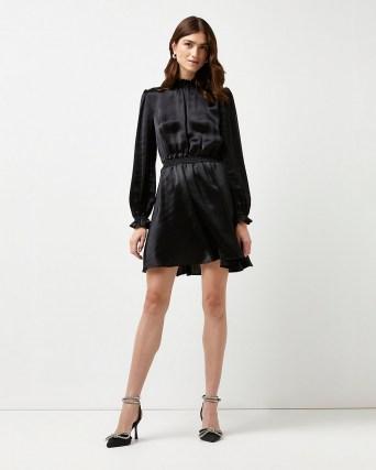 RIVER ISLAND Black satin mini dress ~ LBD - flipped