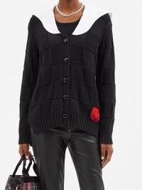 GANNI Smiley face woven cotton-blend knit cardigan in black | womens designer knitwear | women's contrast collar cardigans