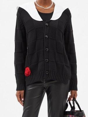 GANNI Smiley face woven cotton-blend knit cardigan in black | womens designer knitwear | women's contrast collar cardigans - flipped