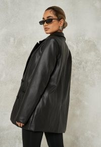 MISSGUIDED black soft faux leather oversized blazer – on-trend relaxed fit blazers