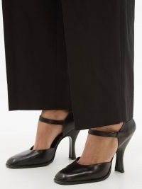 THE ROW Square-toe black leather Mary Jane pumps / chic Mary Janes / womens vintage style shoes
