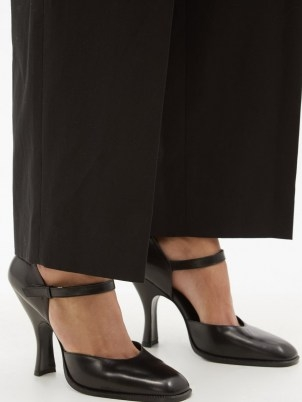 THE ROW Square-toe black leather Mary Jane pumps / chic Mary Janes / womens vintage style shoes - flipped
