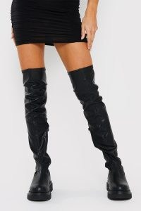 IN THE STYLE BLACK THIGH HIGH BOOTS – faux leather chunky sole over the knee boots