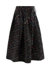 HORROR VACUI Toga Swedish Meadow-print cotton midi skirt in black – floral pin tuck detail skirts with volume
