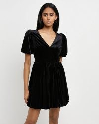 RIVER ISLAND Black velvet mini dress ~ LBD ~ puff sleeve party dresses