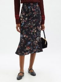 ERDEM Victorine flared floral-print denim skirt   black flower print front button skirts