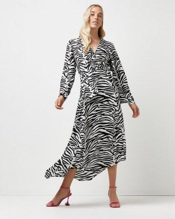 River Island Black zebra print tie neck midi dress – glamorous animal stripes – monochrome asymmetric dresses - flipped