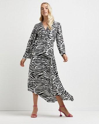 River Island Black zebra print tie neck midi dress – glamorous animal stripes – monochrome asymmetric dresses