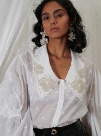 sister jane DREAM GRANDMA'S HOUSE Heirloom Organza Blouse – vintage style oversized collar blouses – romantic fashion