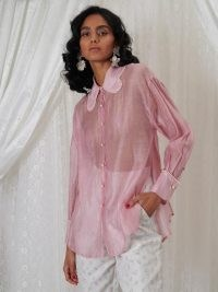 sister jane DREAM Beatrice Organza Scallop Shirt Primrose Pink – womens sheer floaty oversized collar shirts – women's luxe style fashion