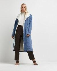 River Island Blue borg and denim longline coat – womens casual winter coats