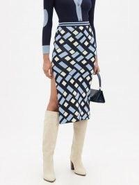 DODO BAR OR Brian side-slit geometric-jacquard midi skirt – patterned split hem skirts