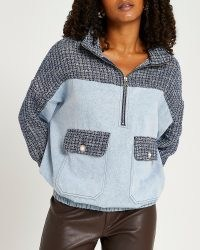 River Island Blue denim and boucle zip hoodie   womens textured pullover hoodies