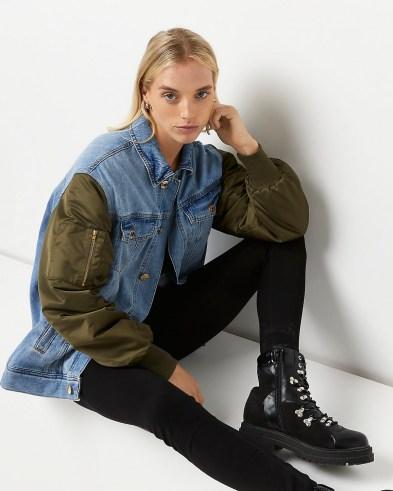 River Island Blue denim oversized bomber jacket | womens cool casual jackets - flipped