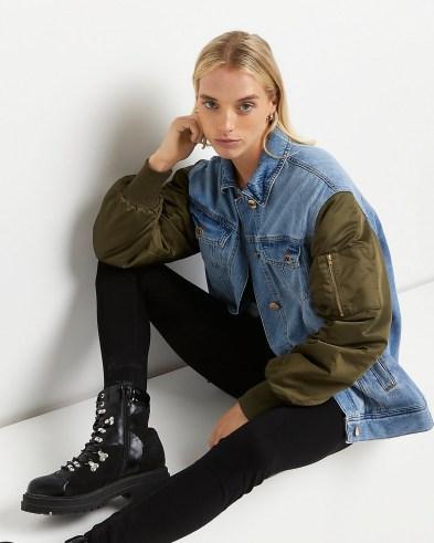 River Island Blue denim oversized bomber jacket | womens cool casual jackets