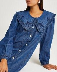 River Island Blue denim oversized collar mini dress   casual front button up dresses   large ruffle trim collars