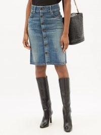 SAINT LAURENT Denim pencil skirt   blue classic casual front button skirts