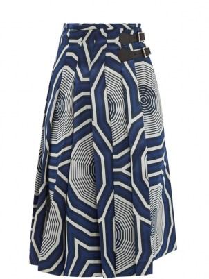 CHARLES JEFFREY LOVERBOY Hak geometric-jacquard kilt skirt – bold blue geo print buckle fasten skirts - flipped
