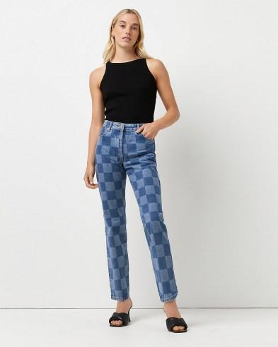 River Island Blue high waisted checker board print straight jeans   womens checked denim   women's casual check print fashion - flipped