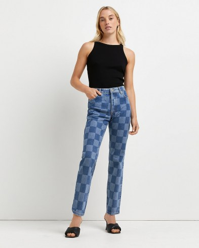 River Island Blue high waisted checker board print straight jeans   womens checked denim   women's casual check print fashion