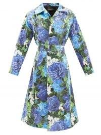 RICHARD QUINN Roxy blue floral-print PVC & cotton trench coat