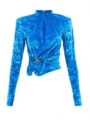 THE ATTICO Padded-shoulder blue-velvet top – women's 80s vintage inspired tops – glamorous 1980s style power dressing fashion - flipped