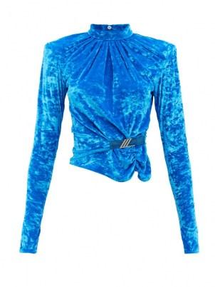 THE ATTICO Padded-shoulder blue-velvet top – women's 80s vintage inspired tops – glamorous 1980s style power dressing fashion