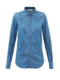 SAINT LAURENT Panelled-yoke denim shirt   womens blue Western style shirts