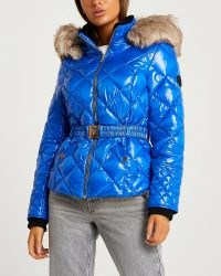 RIVER ISLAND Blue quilted puffer coat / womens faux fur lined hooded winter coats / women's casual shiny patent-finish autumn jackets